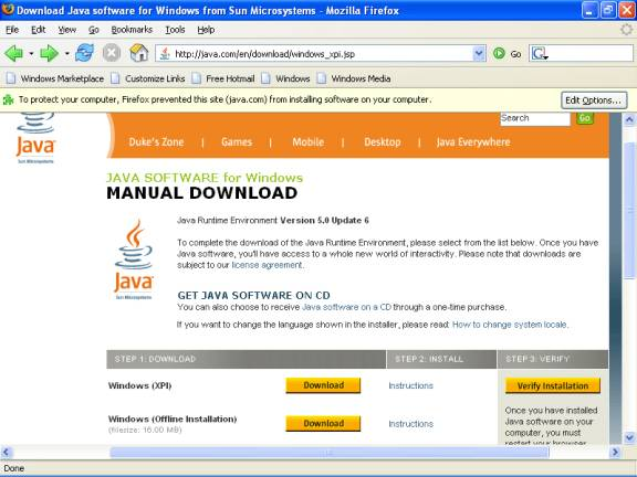 java windows xp download