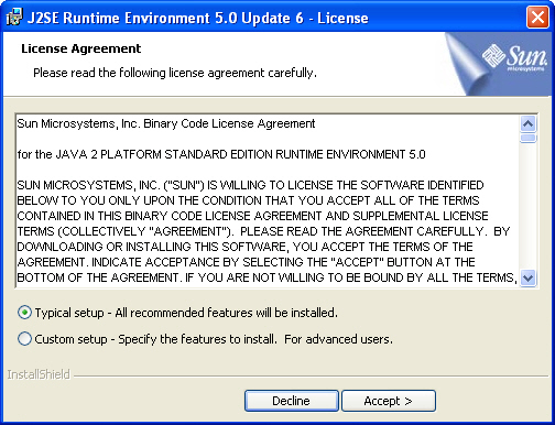 j2se runtime environment 5.0 update 6